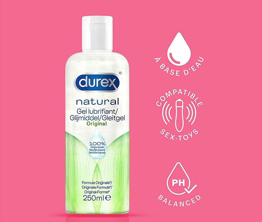Durex - Gel Lubrifiant Sexuel Naturel - Lubrifiant intime à base d'eau